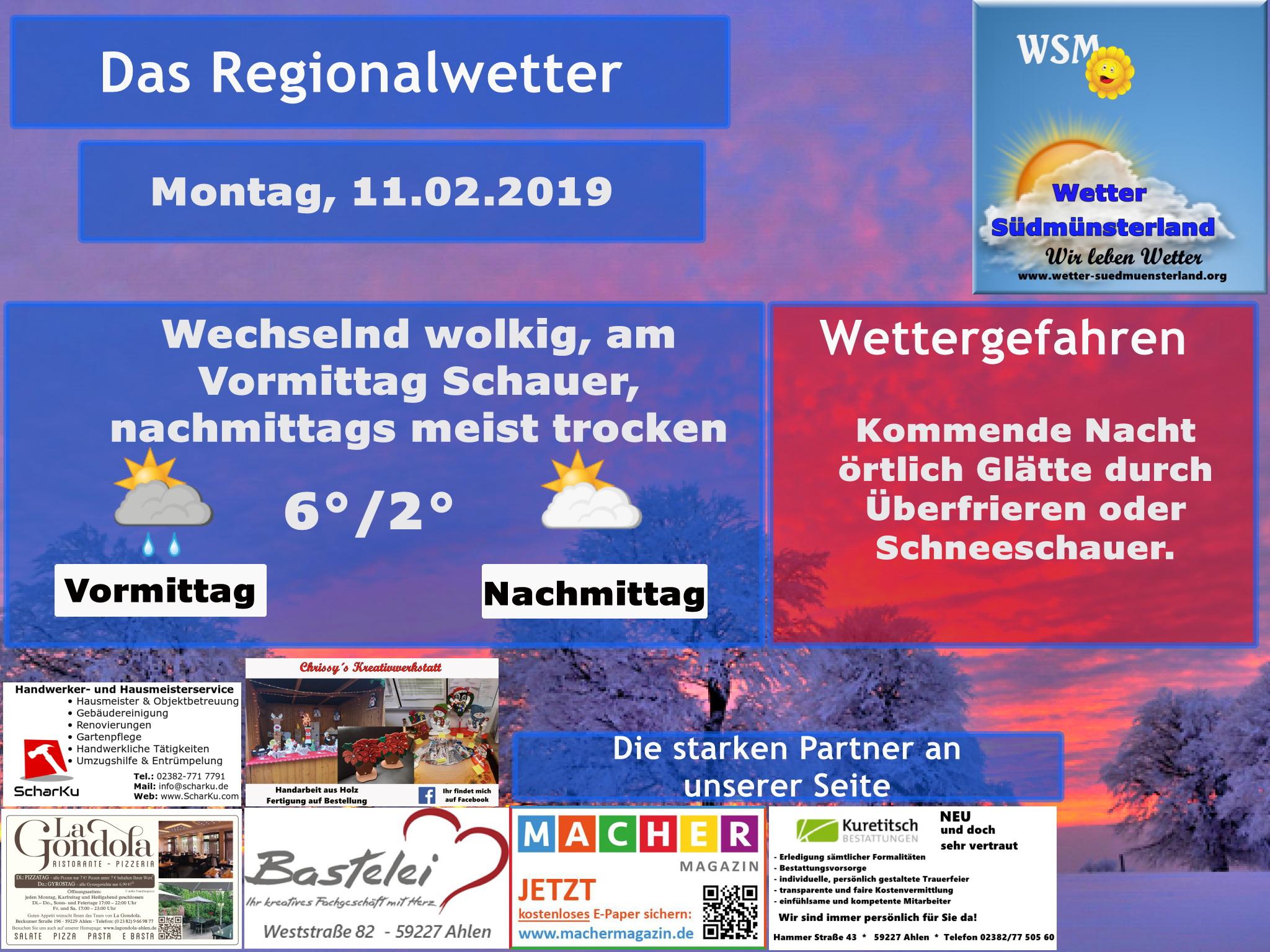 Wettervorhersage Montag