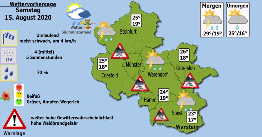 Dein Wetter am Samstag, 15. August2020