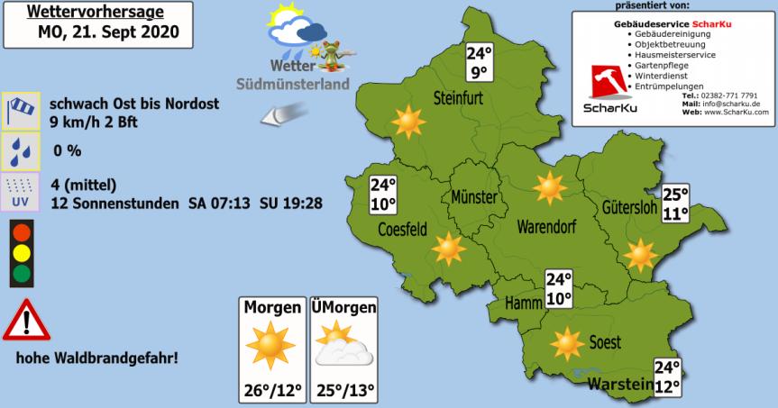 Wettervorhersage Montag, 21. Sept2020