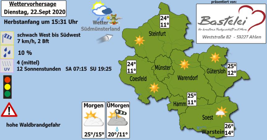 Wettervorhersage Dienstag, 22. September2020