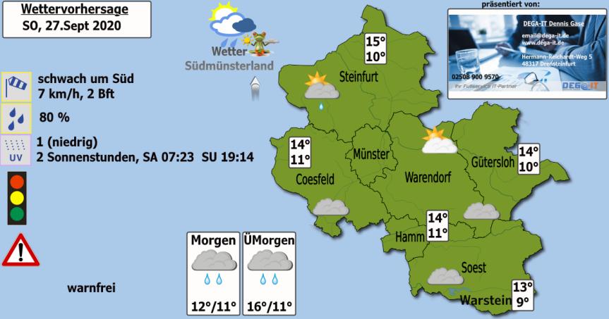 Wettervorhersage Sonntag, 27. Sept2020