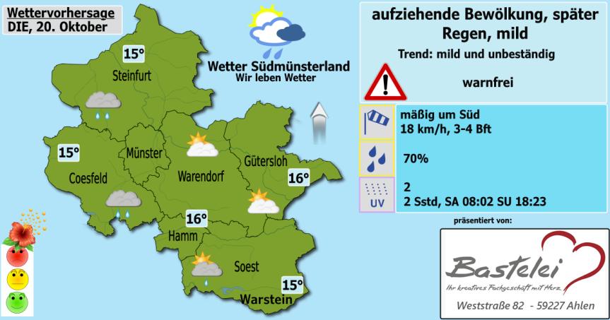 Wettervorhersage Dienstag, 20.Oktober
