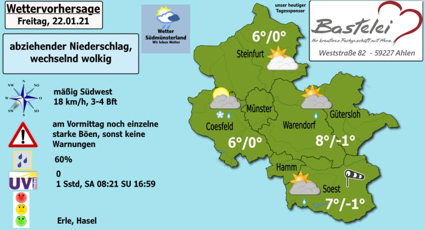 Abziehender Regen, später Auflockerungen und meist trocken – Wettervorhersage 22.01.2021